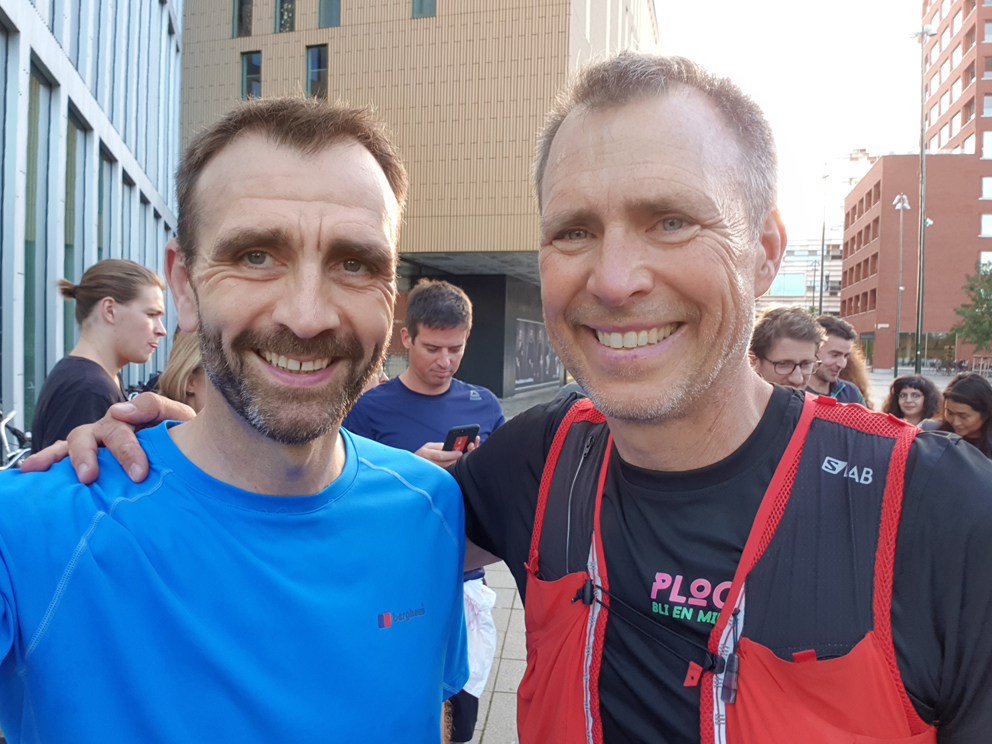 Chris Lines with founder of plogging Erik Ahlstrom in Malmo at the European Outdoor Summit