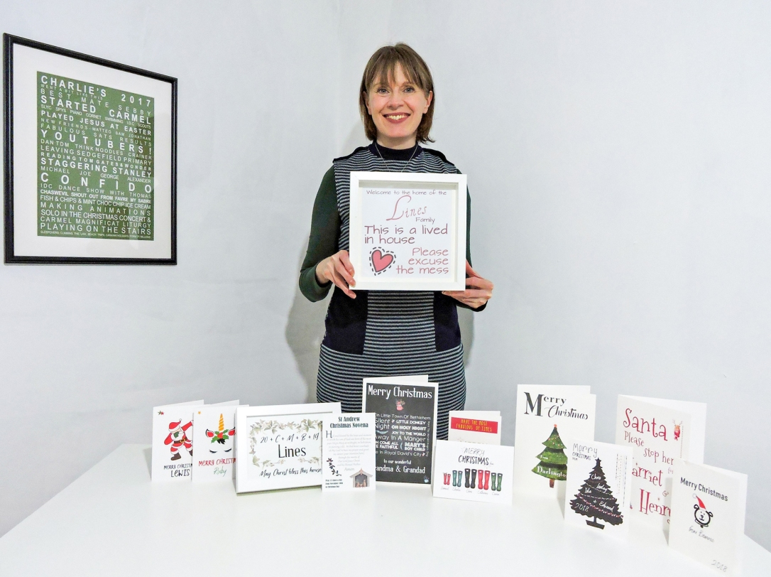 Catherine Lines with her All About Words Christmas collection