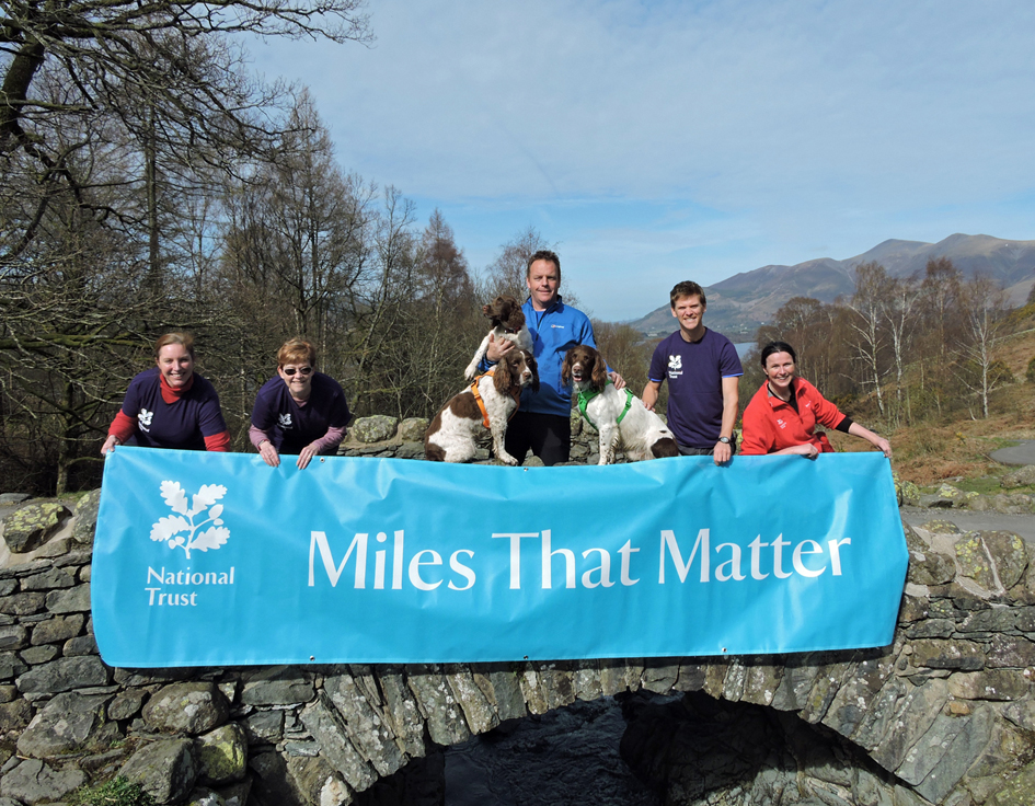 l-r Becky Powell, Gillian Pimblett, Kerry Irving and spaniels, Rob Webster and Jessie Binns at Ashness Bridge