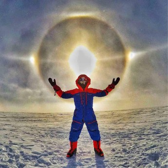Leo Houlding and a solar corona in the Antarctic - photo credit Berghaus