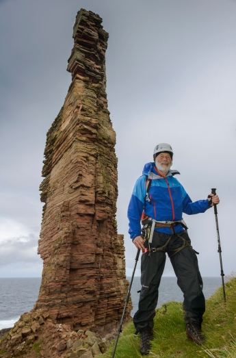 Sir Chris Bonington prepares to climb the Old Man of Hoy in 2014 (photo credit - Berghaus)